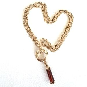 Vintage 80's Goldtone Necklace With Amber Pendant